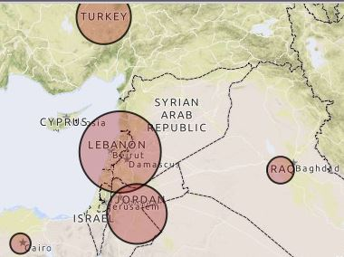 UNHCR map of Syrian refugees